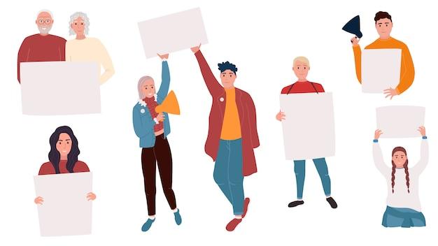 서 빈 배너를 들고 젊은 남녀의 컬렉션입니다. 남성과 여성 시위대 또는 운동가.