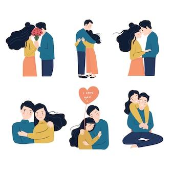 사랑에 젊은 여자와 남자의 컬렉션입니다. 행복 한 커플 개념입니다. 사랑에 관계에있는 커플. 이미지 세트