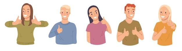 Коллекция молодой женщины и мужчины показывает палец вверх, например.