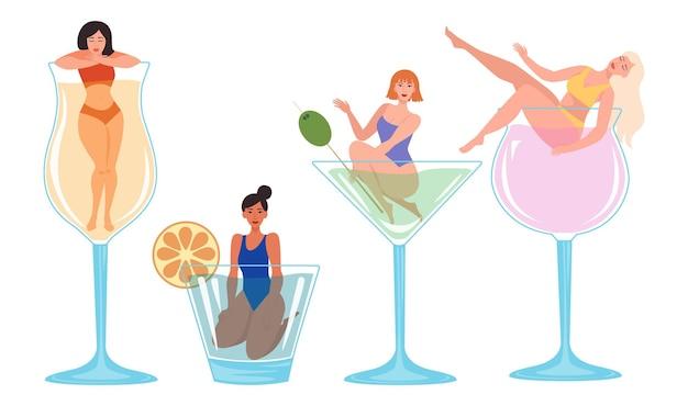 カクテルとグラスで若い女性のコレクション。フラットスタイルのカラフルなベクトルイラスト。