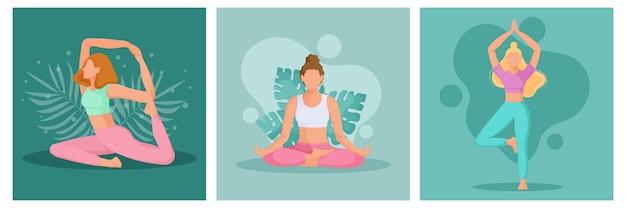 Коллекция молодых женщин в позиции йоги. физическая и духовная практика.