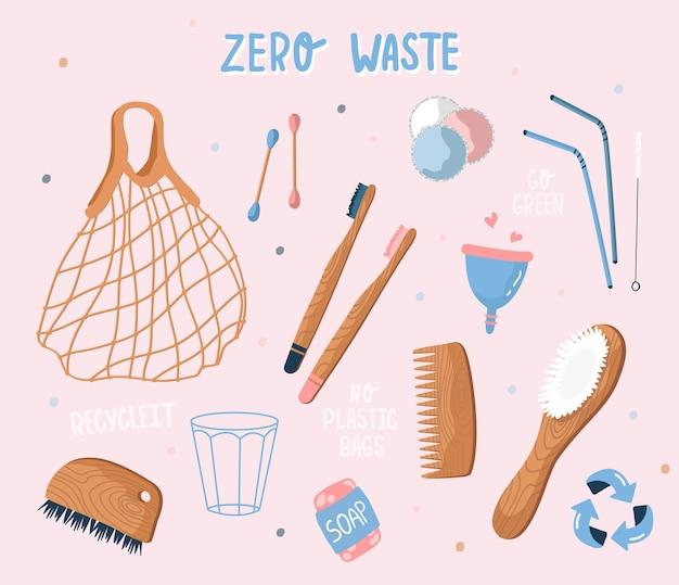 Сбор безотходных и многоразовых предметов. экологические пакеты для продуктов, предметы гигиены, деревянные столовые приборы, менструальная чаша, мыло. плоский стиль, иллюстрация. эко-сетчатая сумка для продуктов. стиль рисованной
