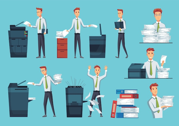 Collection of office documents copiers.