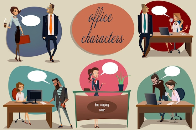 Collection of office scene with cute women and men