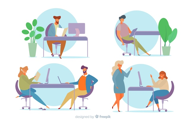 Raccolta di impiegati seduti alle scrivanie
