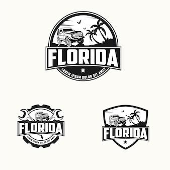 Коллекция дизайна логотипа offroad beach
