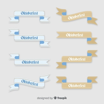 Collection of oktoberfest flat design ribbons