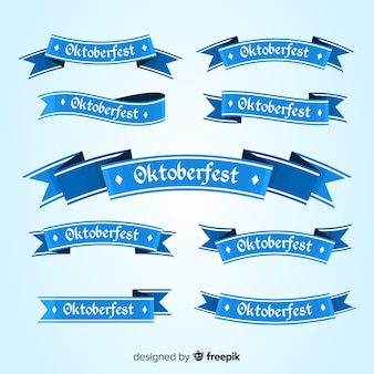 Collection of oktoberfest ribbons flat design