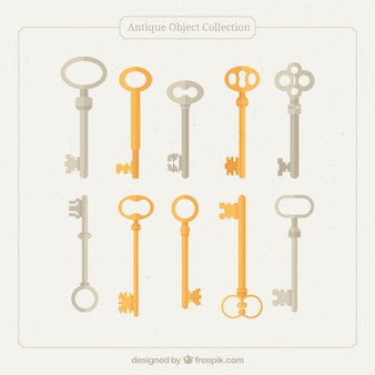 Collection of old keys in flat design