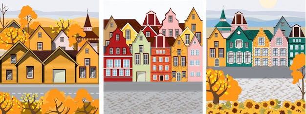 Collection of old retro town with colorful buildings