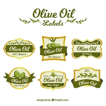 Collection of olive oil stickers