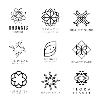 Collection of organic cosmetics logo vector