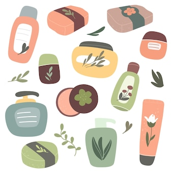 Collection of organic cosmetics natural cosmetics and body care products vector handdrawn isolate