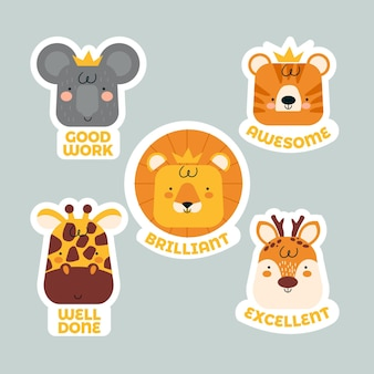 Collection of organic flat motivational great job stickers