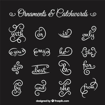 Collection of ornament and catchword in blackboard effect