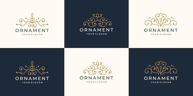 Collection of ornament logo design. set creative luxury linear style ornamental logo inspiration.