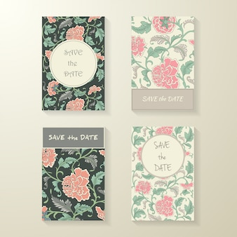 Collection of ornamental colored floral cards