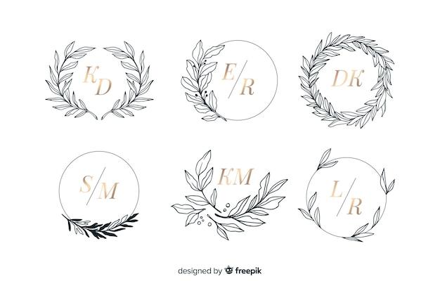 Collection of ornamental wedding monogram