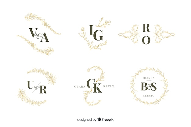 Collection of ornamental wedding monogram