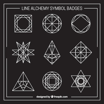 Collection of outlined alchemy symbol