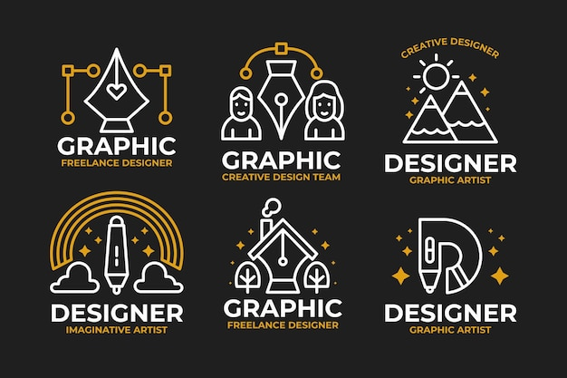 Collection of outlined flat design graphic designer logo