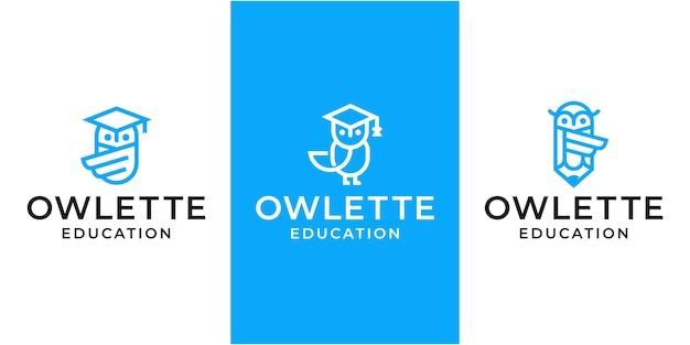 Коллекция сова с символом образования логотип