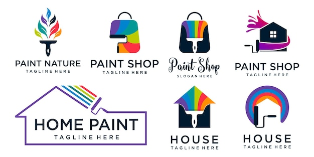 Collection paint logo  template design vector