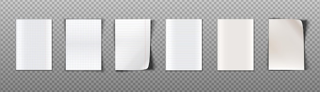 Collection of paper sheets with different texture for notes. isolated