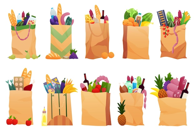 Collection of paper shopping bags products grocery. vegetables, bread, dairy products, vine, meat and eggs. grocery supermarket. fresh healthy produce. grocery delivery concept.