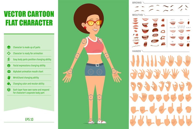Collection of parts of body woman character