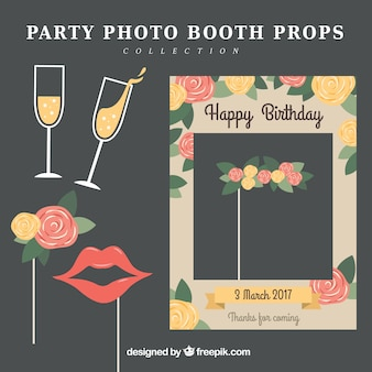 Collection of party photo booth props