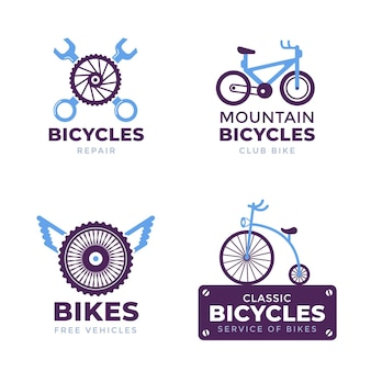 Collection of pastel colored bike logo flat design