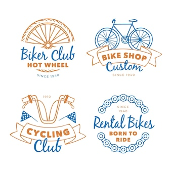 Collection of pastel colored bike vintage logo