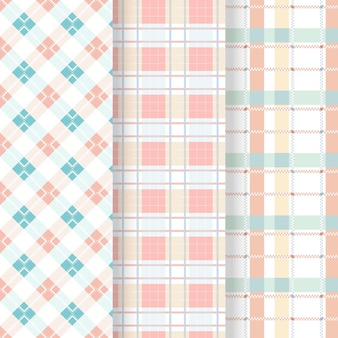 Collection of pastel colored gingham patterns
