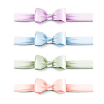 Collection pastel colors silk bows with ribbons