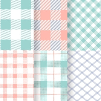 Collection of pastel gingham patterns