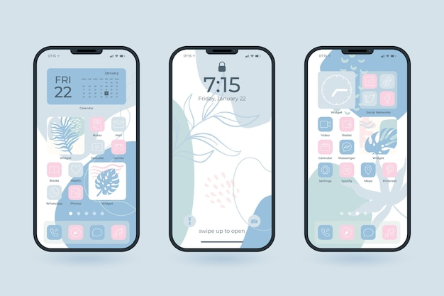 Collection of pastel home screens