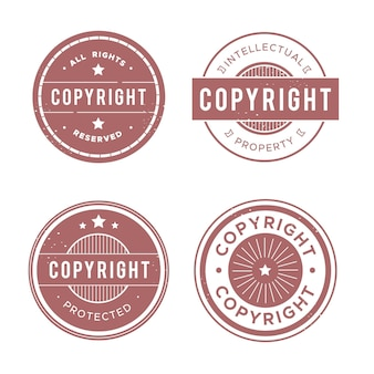 Collection of pastel red copyright stamps