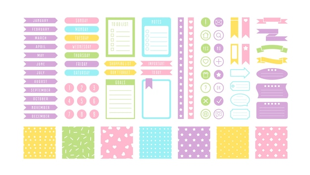 Collection of pastel stickers isolated on white
