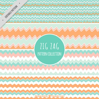 Collection of pastel zig-zag patterns