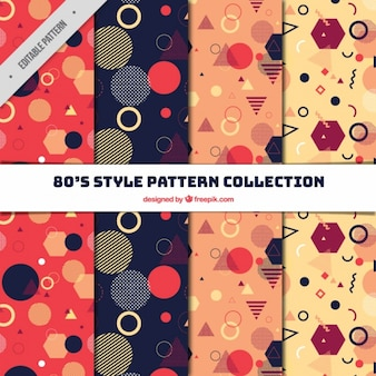 Collection of patterns with 80s style