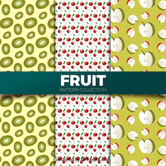 Collection of patterns with realistic fruits