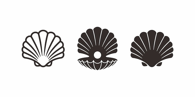 Collection of pearl shell logo or icon design.