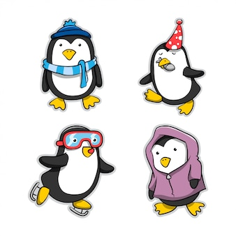 Collection of penguin cartoon action