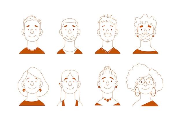 Collection of people avatars illustration