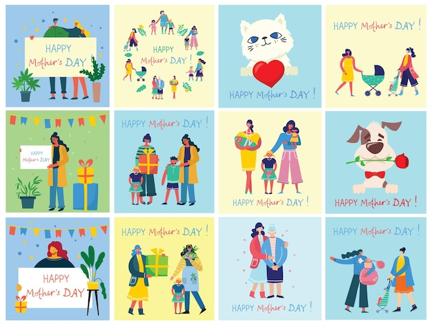 Collection of people celebrate mother's day