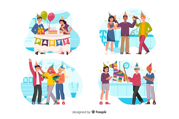Collection of people celebrating birthdays