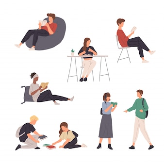 Collection of people character illustration doing various activity in flat design