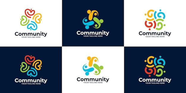 Collection of people community logo or medical clinic logo design
