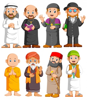 Collection people of different religion set